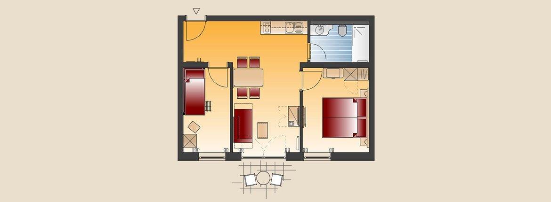 Appartement Erlenbach Skizze - Landhotel Alte Mühle Ferienregion Nördlicher Bodensee