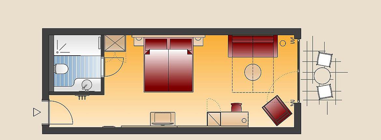 Skizze Doppelzimmer Landhaus - Landhotel Alte Mühle Ferienregion Nördlicher Bodensee
