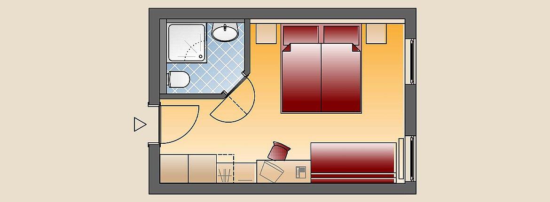 Skizze Doppelzimmer Standard - Landehotel Alte Mühle Ferienregion Nördlicher Bodensee
