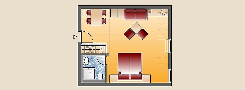 Skizze Doppelzimmer Komfort - Landhotel Alte Mühle Ferienregion Nördlicher Bodensee