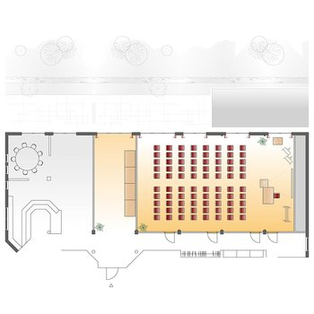 Seminarraum Riedblick - Theaterbestuhlung mit Ausstellungsfläche