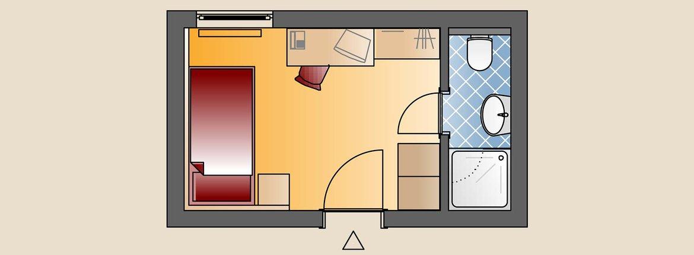 Skizze Einzelzimmer Landhotel Alte Mühle Ostrach